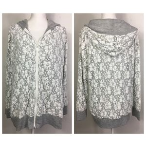 Maurices White Floral Lace Heather Gray Zip Hoodie